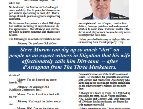 """Steve Murow's """"Down and Dirty"""" article in California Business Journal!"""
